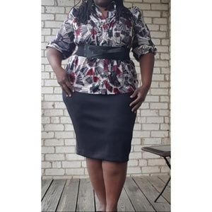 Plus Size Pleated Front Blouse